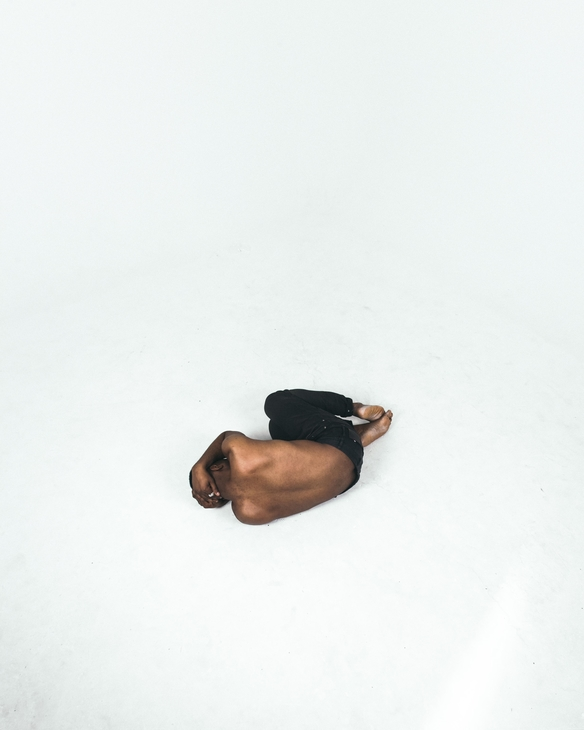 A man in fetal position