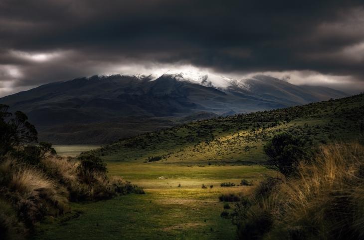 Dark clouds over landscape