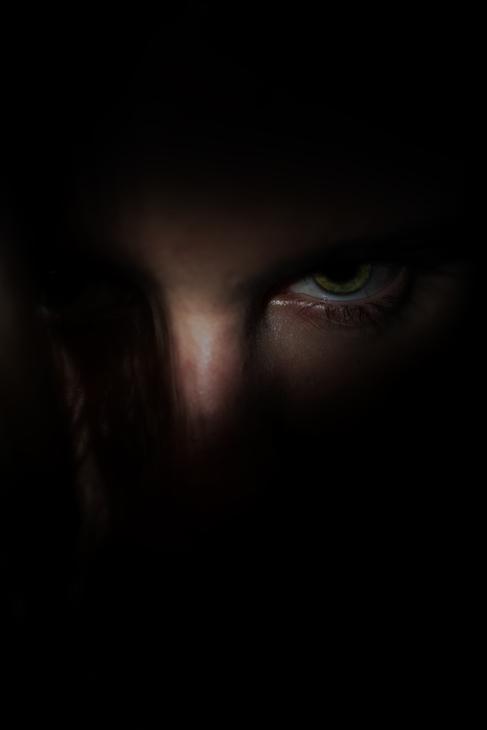 Man`s eye in the dark