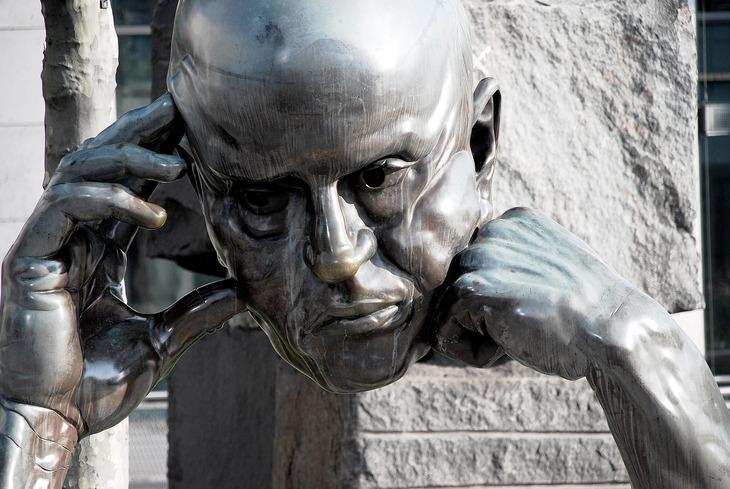 Thinking head statue