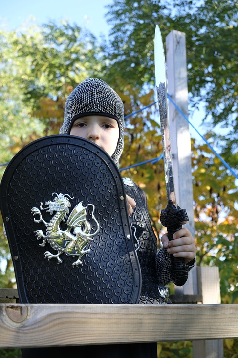 A child in knight armor