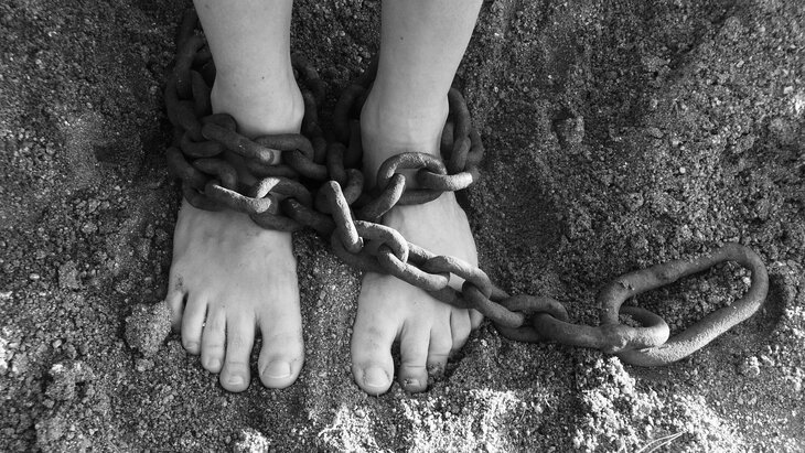Feet chained